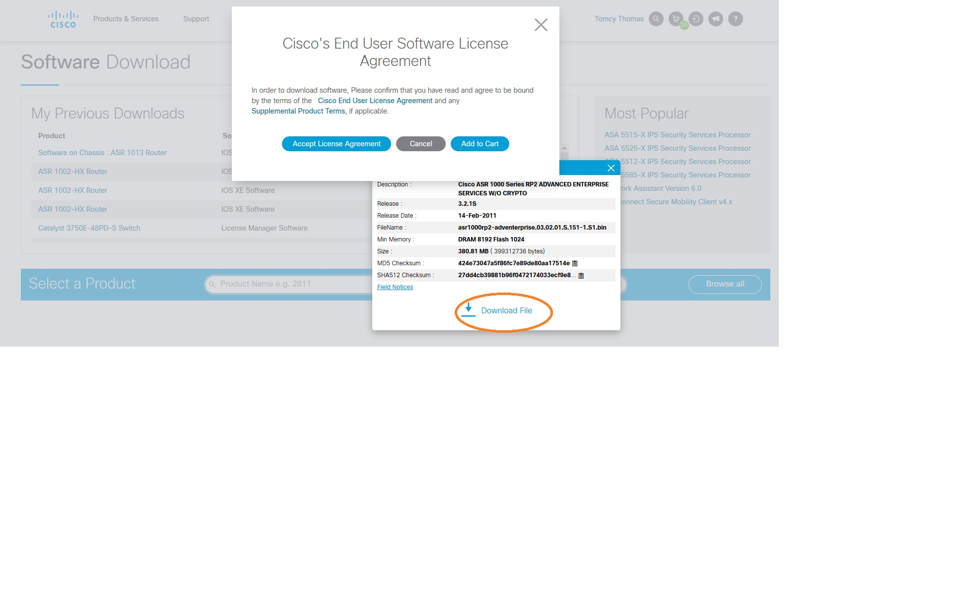 cisco software download page