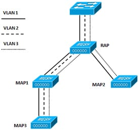 VLAN tagging Support Example within a Mesh Network